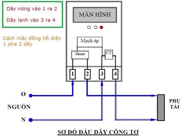 Cách đấu công tơ điện 1 pha