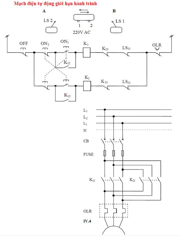 mạch điện tự động giới hạn hành trình