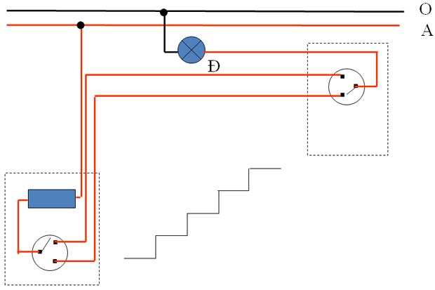 sơ đồ đi giây mạch điện cầu thang