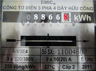 Chỉ số công tơ điện 3 pha trực tiếp 10(20)A
